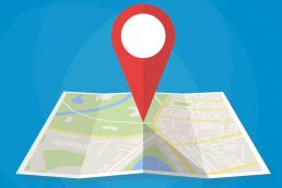 Map pin illustrating Google Maps.
