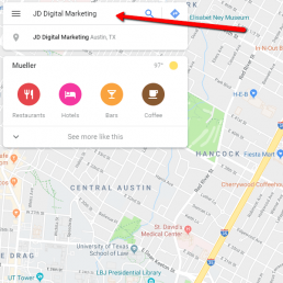 Google My Business screenshot 1: search your business name.