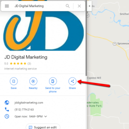 Google My Business step 2: click the share button.