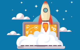 rocket taking off of a laptop illustrating how SEO is the fuel for your website